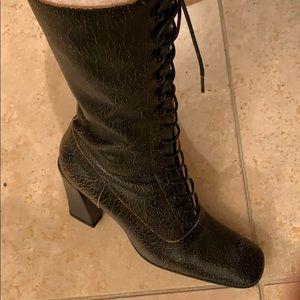 Miu Miu black antique finish boots